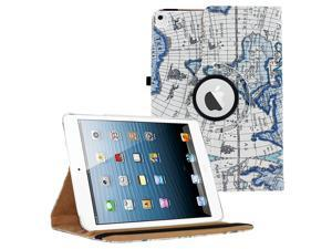 iPad Pro 9.7 360 Rotating Case By KIQ Slim Folio Stand PU Leather Case Cover for iPad Pro 9.7 - Blue Map