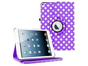 iPad Pro 9.7 360 Rotating Case By KIQ Slim Folio Stand PU Leather Case Cover for iPad Pro 9.7 - Polka purple