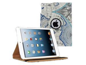 KIQ (TM) BLUE MAP 360 Rotating PU Wake/Sleep Leather Case Skin Cover for Apple Ipad Air 2 6 Gen