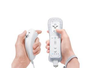 Nintendo Wii Remote and Nunchuck Controller Combo - Includes Silicone Sleeve and Wrist Strap - White