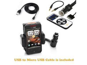 iClever 5-in-1 Car Charger + Fm Transmitter / Holder Full Range Frequency Fm Transmitter Car Kit for Apple iPod -Black