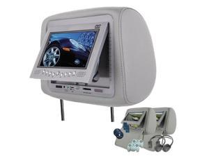 """Esky® Gray Headrest Pair 7"""" LCD DVD Monitors USB SD Slot Wireless Video Game Car Package"""
