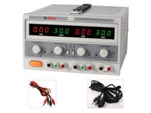 Dr.Meter Variable TRIPLE LINEAR DC POWER SUPPLY 30V 5A Digital Regulated Lab Grade