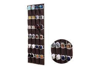 Ohuhu 24 Pocket Door Hanging Holder Over-the-Door Shoe Organiser Storage Rack Wall Hanger Closet Dark Brown
