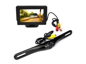 """Esky® 100% Waterproof HD 180 Degree Viewing Angle Night Vision Anti-Fog Car Backup Camera + 4.3"""" TFT LCD Portable Adjustable Rear View Monitor Screen"""
