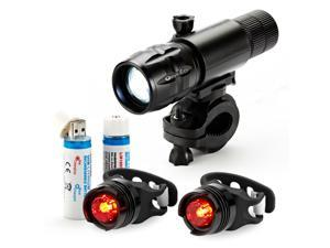 OxyLED® BL30 Rechargeable LED Bike Light Set, 1 Aluminum Alloy Cycling Front Headlight (Flashlight), 2 Rear Tail Lights, 2 USB-Rechargeable 18650 Li-ion Batteries and 1 Sturdy Mount Bracket