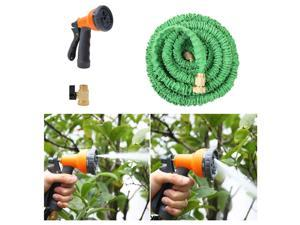 Ohuhu 25 Ft Expandable Garden Hose with Spray Nozzle, Green