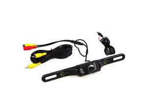 Universal Car License Plate Mount Rear View Backup Camera with 7 IR LED Night Vision (Waterproof/Color CMOS/Wide Viewing Angle/Distance Scale Line)