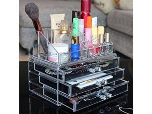 Ohuhu Acrylic Makeup Cosmetics Organizer Acrylic Transparent 3 Drawers Storage Box