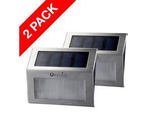 OxyLED 2-Pack SL05 Solar Powered Low Voltage Automatic Stainless Steel Stairways LED Solar Step Lights