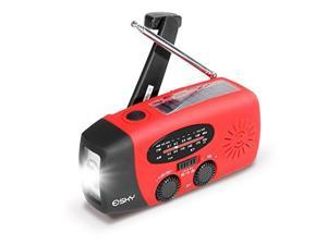 [Hand-Crank Radio]Esky ES-CR01 Multifunction Emergency Solar Hand Crank Self Powered AM/FM/NOAA Weather Radio with LED Flashlight and Power Bank, Red
