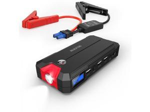 Intocircuit Ultra Compact Car Jump Starter and Portable Charger Power Bank with 400A Peak Current, 3-Port USB Output, LCD Display, Advanced Safety Protection and Built-In LED Flashlight