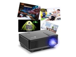 iClever IC-P01 Multimedia Mini LED HD Portable Projector with HDMI USB VGA AV 1080p 20000 Hours Life with Remote, Black