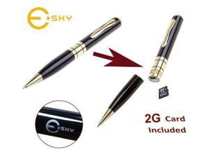 Esky Mini DVR Video Pen Includes 2GB Micro SD Card + Card Adapter - Gold-accented Executive Pen w/Micro SD Slot Expandable to 8gb
