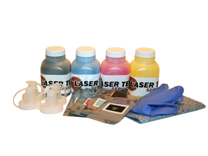 Laser Tek Services ® 4 Pack B/C/M/Y Toner Refill Kit with reset chips for the Xerox Phaser 6125