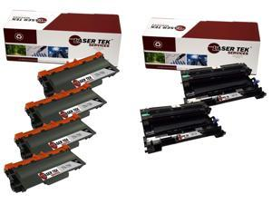 Laser Tek Services® Brother TN750 DR720 Combo Pack of 4 TN750 Compatible Cartridges, and 2 DR720 Compatible Drum Units