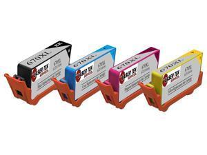 Laser Tek Services® 4PK HP 670XL Replacement Ink Cartridges (1 Black CZ117,1 Cyan CZ118,1 Magenta CZ119,1 Yellow CZ120)
