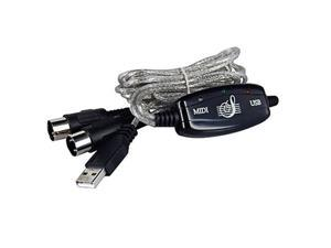 USB IN-OUT MIDI Interface Cable Converter PC to Music Keyboard Adapter Cord