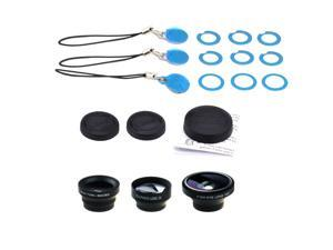 IPhone 4 4S iPad 3 Galaxy S3 Note 4 in 1 Camera Lens Kit Fish Eye Lens Wide Angle Micro Lens And Telephoto Lens Black