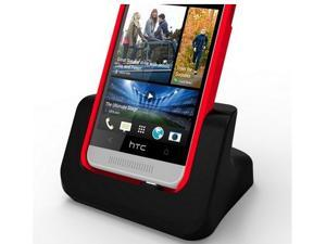 USB Dual Desktop Charger Charging Cradle dock Station for HTC One Max Black (Case Compatible)