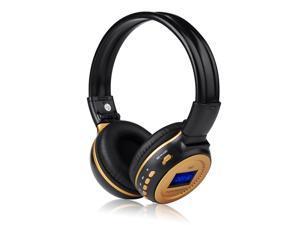 New Black Wireless Rechargeable Hi-Fi Stereo Headphone Handsfree Headset Earphone with Mic FM Radio 3.5mm Port Support MMC ...