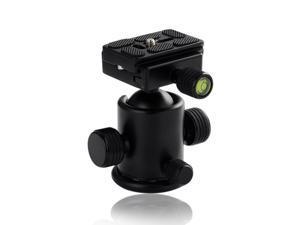 Premium Metal Camera Tripod Ballhead Ball Head with Quick Release Plate for Canon Nikon Sony DSLR Digital Cameras - Black