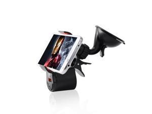 Patazon Handsfree FM Transmitter Music Speaker Phone Mount Holder - Black