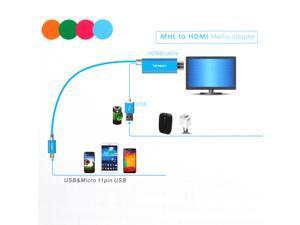 1080P Aluminum Micro 11pin USB to HDMI TV AV HDTV Media Cable Adapter for SAMSUNG galaxy S3 S4 S5 NOTE 2 3 II III