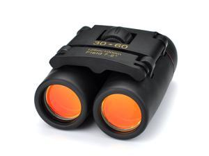 Mini Portable 30 x 60 Zoom Day & Night Vision Folding Red Membrane Binoculars Telescope with Clean Cloth & Carry Bag for Birding, Walking, Climbing, Boating, Travel etc- Black