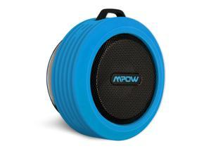 Mpow Buckler Portable Wireless Bluetooth Speakers with 5W Driver & Bass Radiator and Waterproof/Shockproof/Dustproof/Suction Cup for Outdoor/Shower-Blue