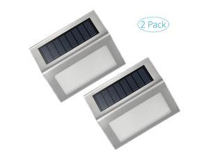 2 Pack Outdoor Stainless Steel Solar Powered LED Step Light&#59; Illuminates Stairs, Paths, Deck, Patio, Garden, Etc