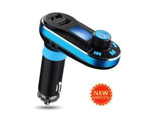 Blue Univeral LCD In Car FM Transmitter Dual USB Ports Car Kit Charger MP3 Player Support 3.5mm Plug & SD/TF Card for Samsung Galaxy S5 Note iPhone 5 6 LG G2 G3 Moto X Sony iPad Air Macbook Pro MP3