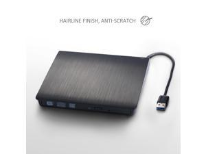 Patazon CD/DVD-RW Burner Writer Player External Hard Drive for Apple Macbook, Macbook Pro, Macbook Air or other Laptop/Desktops with USB3.0 Cable-Black(The USB Cable and the Drive are Combined in one)
