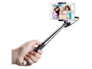 Mpow Selfie Stick, Mini Portable Foldable Extendable Monopod with 3.5mm Wire Connecting for iPhone 6s Plus 6 5s Samsung Galaxy S6 S5 Gopro Sports Cameras etc-Black