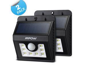 2 Packs--Mpow Solar Powerd Super Bright 8 LED Wireless Security Motion Sensor Light with Three Intelligient Modes ,Weatherproof, Wireless Exterior Security Lighting Lamp