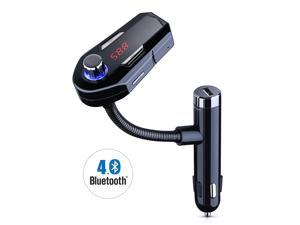 Bluetooth FM Transmitter& USB Car Charger Wireless Car Kit with 3.5mm Audio Port, TF Card Slot, 1.44 Inches Screen Supports Display Car Battery Voltage, Song Names, Incoming Phone Number