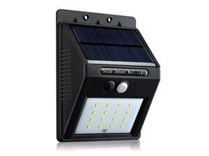 16 LED Solar Powered Wall Lights 320 LM Solar Panel Powered Motion Sensor Lamp Wireless Outdoor Light Garden Patio Deck Yard Driveway Stairs Security Light