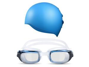 Patazon 100% Silicone Swimming Cap Swimming Goggles No Leaking Anti Fog UV Protection Swim Goggles for Adult