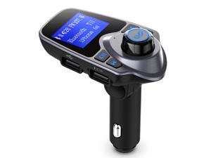 "1.44"" Bluetooth FM Transmitter USB Car Charger Wireless Car Kit with 3.5mm Audio Input/ Output Port, TF Card Slot, USB Flash Drive Port"