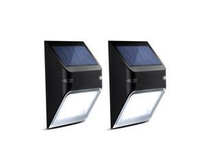 2 Packs Solar-powered Waterproof Lights Wall Lamp Wireless Security Outdoor Lighting 5 LED, Light Sensor For Garden and Home