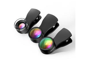 180°Fisheye Lens + 20X Macro Lens+0.36X Wide Angle Lens for iPhone Android Smartphones