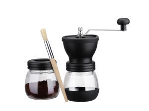 Manual Ceramic Coffee Grinder Mill with Extra Jar and Wooden Brush, for Making Espresso