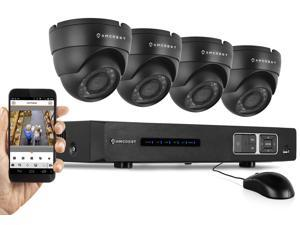 Amcrest 720P HD Over Analog (HDCVI) 4CH Video Security System - Four 1.0 MP Weatherproof IP66 Dome Cameras, 65ft IR LED Night Vision, Long Distance Transmit Range (1,640ft), Pre-Installed 1TB HD for 3