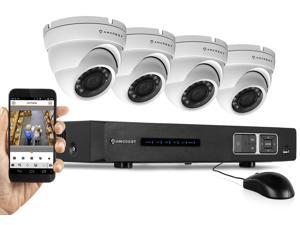 Amcrest 720P 4CH Tribrid (IP/HDCVI) Video Security System - Four 1.0 MP Weatherproof IP66 Dome Cameras, 65ft IR LED Night Vision, Long Distance Transmit Range (1,640ft), Pre-Installed 1TB HD for 360 H