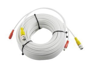 HQ-Cam 25ft Security CCTV Surveillance Camera Pre-made BNC Video Power Siamese Cable - White
