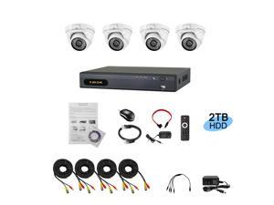 HD AHD/Analog Hybrid 4 Channel DVR 1080P KIT with  2.4Mp 4 x 24IR Dome Camera Installed 2TB Hard Drive A-6004ASL-4-2T