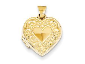 14k Yellow Gold Scroll Heart Locket. Metal Wt- 0.64g