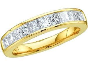 14K Yellow Gold 0.25ctw Sleek Invisible Set Diamond Ladies Princess Band Ring