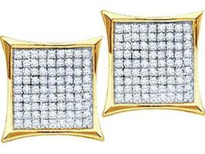 14K Yellow Gold 0.05ctw Glamorous Diamond Ladies Micro Pave Kite Shape Earring