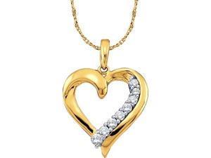 10K Yellow Gold 0.25ct Shiny White Diamond Heart Journey Fashion Chain Pendant